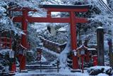 貴船神社 雪化粧の二の鳥居