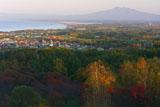 紅葉と斜里岳