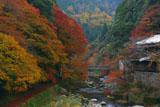 旧かぎや旅館と紅葉の清滝川