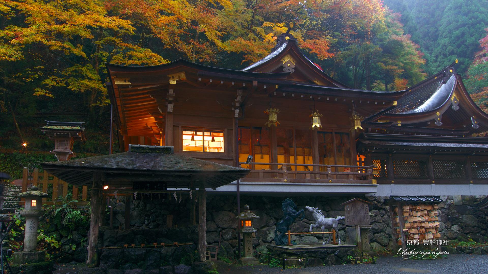 貴船神社 本宮の神馬と紅葉