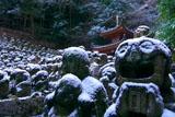 愛宕念仏寺の雪化粧した羅漢像その参