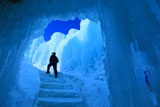 層雲峡氷瀑まつり氷の展望台への道