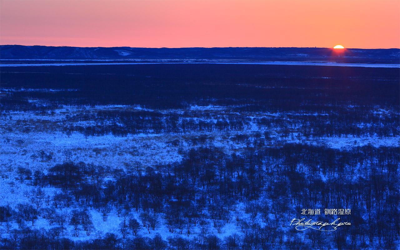 日の出の釧路湿原 の壁紙 1280x800