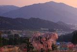 弁天さんのしだれ桜と妙徳山