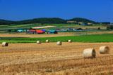 麦稈ロールと富良野の丘