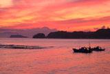 和賀江島 漁船と夕焼け空