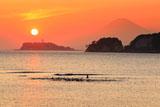 和賀江島 夕陽沈む江の島と富士山