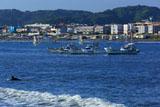 鎌倉材木座 サーファーと漁船