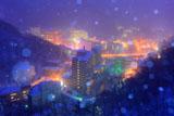 登別温泉の雪降る温泉街