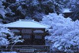 神護寺 雪降る明王堂と鐘楼