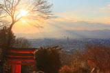 伏見稲荷大社 四つ辻からの夕陽