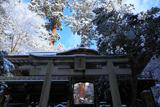 由岐神社 雪景色の鳥居と拝殿