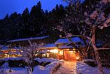 京都花脊 雪化粧の美山荘母屋