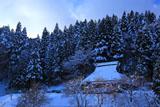 京都花脊 別所町の雪中柿と民家