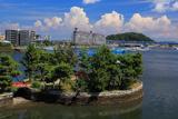 琵琶島神社と入道雲