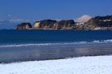 鎌倉 雪化粧の材木座海岸