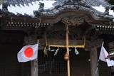 五所神社 屋根雪残る拝殿