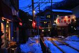 残雪と江ノ電