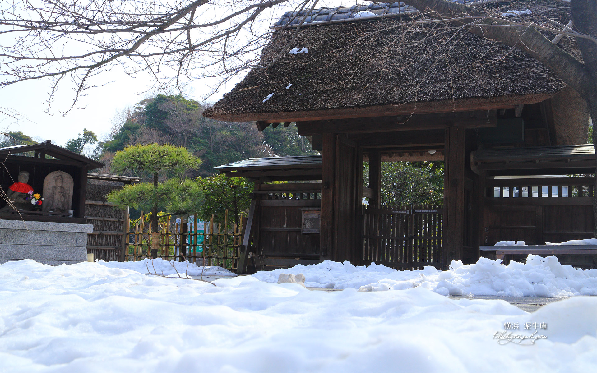 泥牛庵 残雪と山門