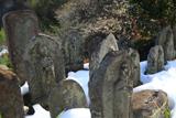 宝樹院 残雪の石仏と白梅
