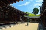 日野誕生院 本堂回廊と新緑